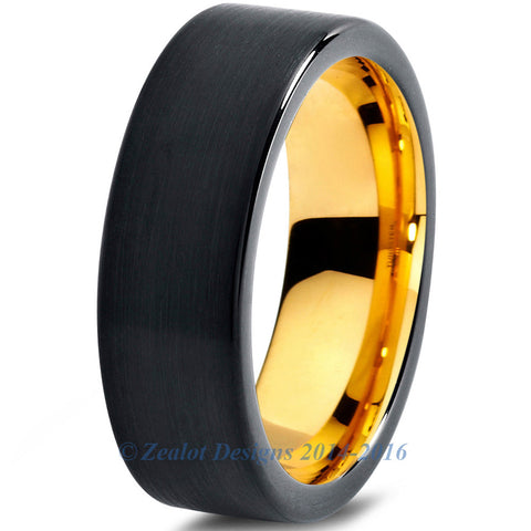 6mm 18k Yellow Gold Plated Tungsten Brushed Black Pipe Cut