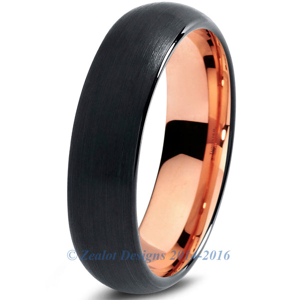 6mm 18k Rose Gold Plated Tungsten Brushed Black Dome Cut