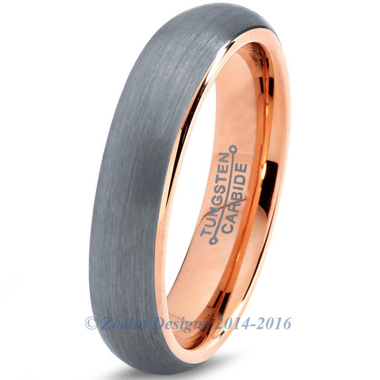 5mm 18k Rose Gold Plated Brushed Dome Cut Tungsten
