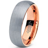 7mm Silver Brushed 18k Rose Gold Plated Polished Dome Cut Tungsten - Zealot