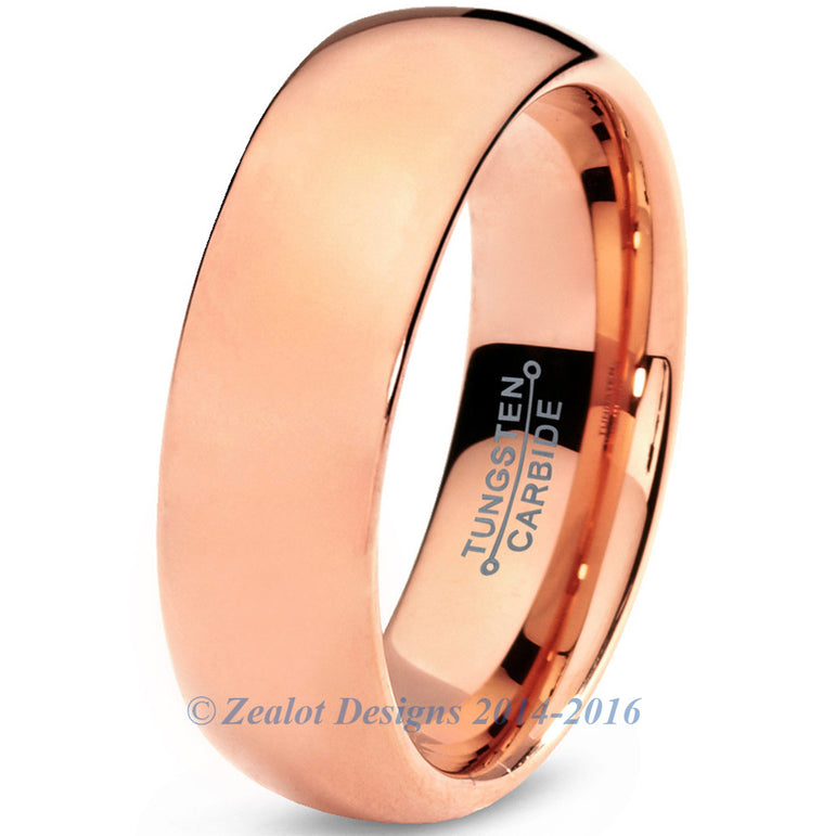 7mm 18k Rose Gold Plated  Polished Dome Cut Tungsten