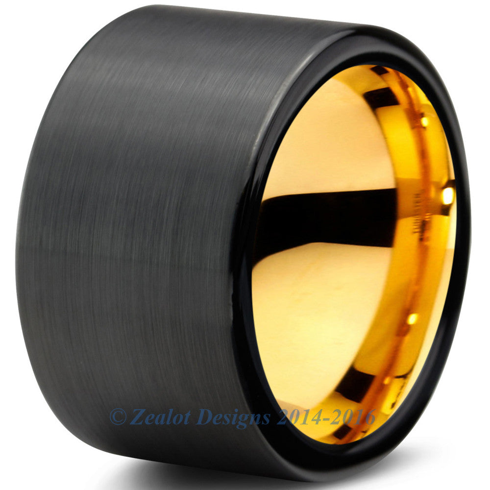 12mm 18k Yellow Gold Plated Tungsten Brushed Black Pipe Cut