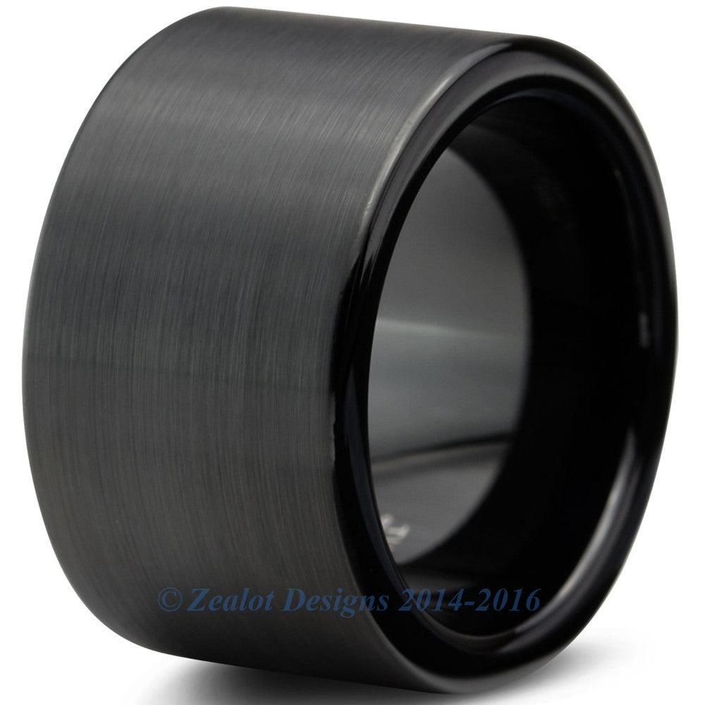 12mm Black Brushed Pipe Cut Tungsten