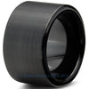 12mm Black Brushed Pipe Cut Tungsten - Zealot