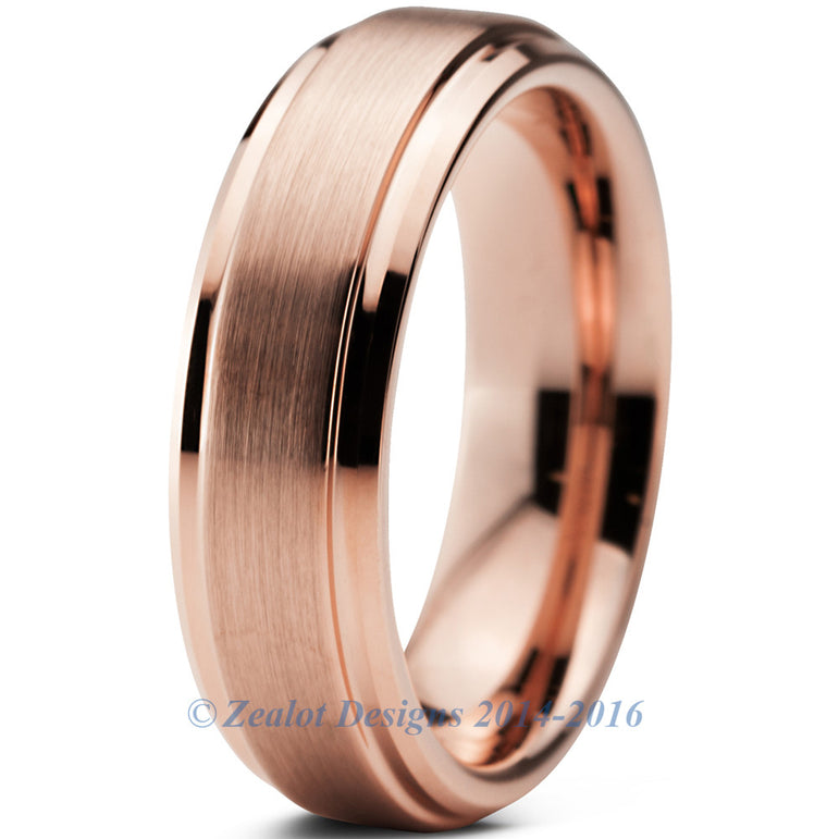 6mm 18k Rose Gold Plated Brushed Beveled Pipe Cut Tungsten
