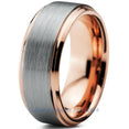 8mm 16k Rose Gold Plated Brushed Beveled Pipe Cut Tungsten