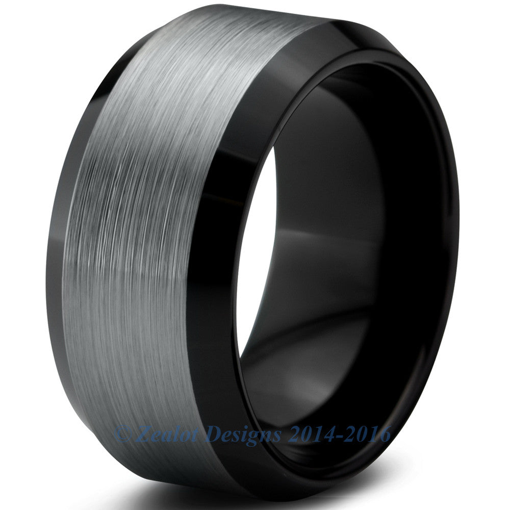 10mm Brushed Silver Tungsten Beveled Pipe Cut - Zealot