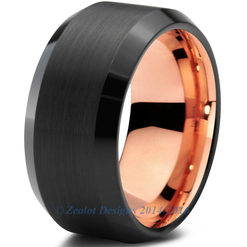 10mm Rose Gold Tungsten Beveled Black Pipe Cut