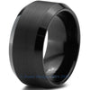 10mm Black Tungsten Brushed Beveled Pipe Cut - Zealot