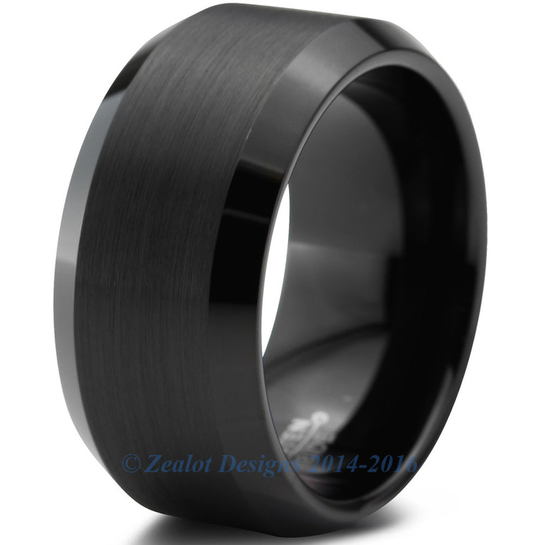 10mm Black Tungsten Brushed Beveled Pipe Cut
