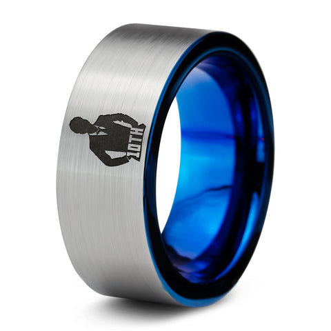 Doctor Who 10th Time Lord Blue Silver Tungsten Ring
