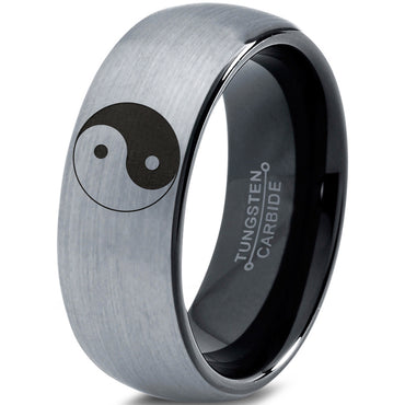 Yin-Yang Balance Tungsten 8mm Ring