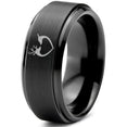 Deer Love Heart Beveled Edge Tungsten Ring