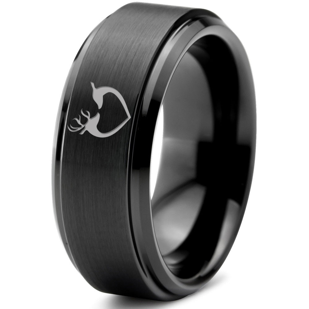 Deer Love Heart Beveled Edge Tungsten Ring - Zealot