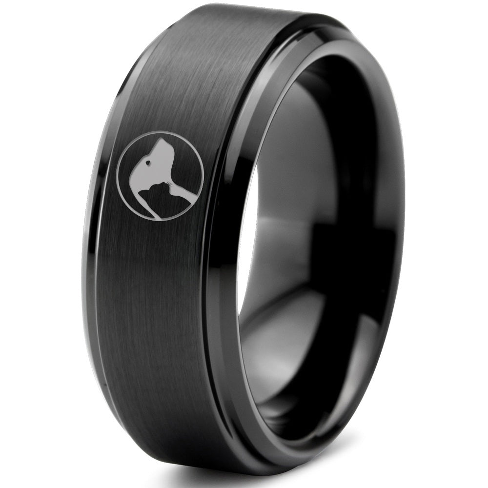 Pet Cat Dog Step Beveled Edge Tungsten Ring