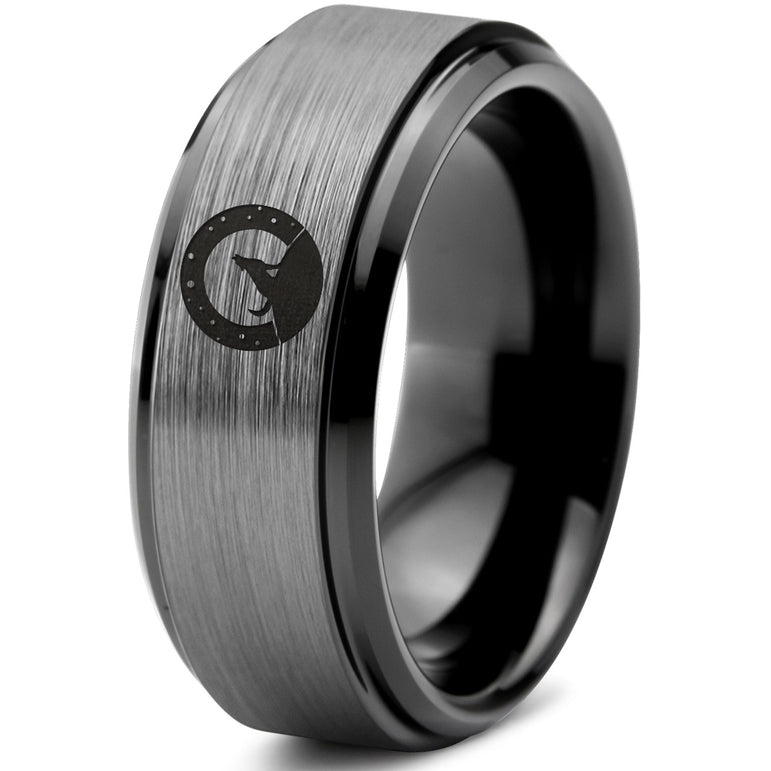Wolf Howling Beveled Edge Tungsten Ring