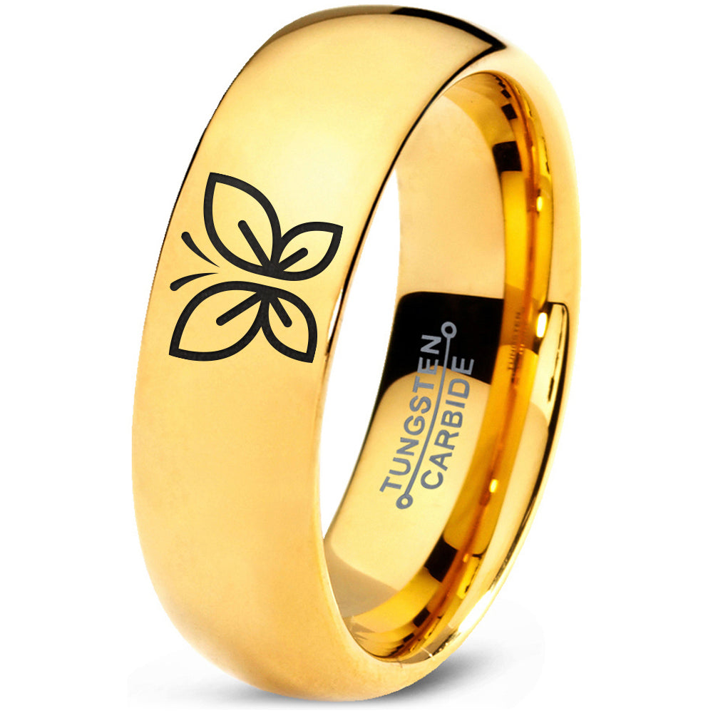 Butterfly 18k Yellow Gold Dome Tungsten Ring