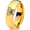 Butterfly 18k Yellow Gold Dome Tungsten Ring - Zealot