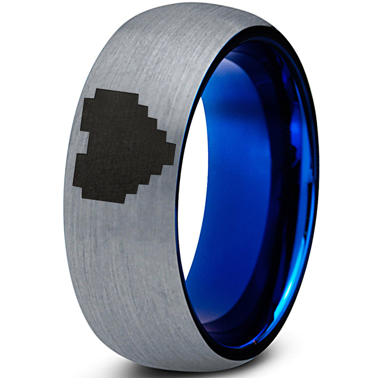Pixelated Heart Gamer Tungsten Ring Blue