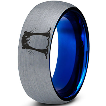 Cute Otter Blue Tungsten Ring