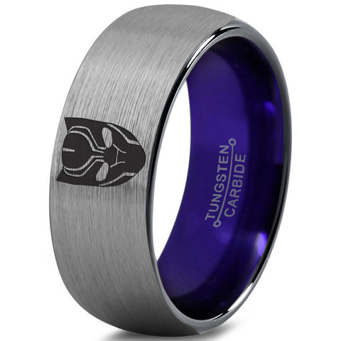 Black Panther Inspired Purple Silver Dome Cut Tungsten Ring