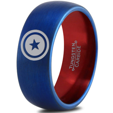 Captain America Inspired Red Blue Tungsten Ring