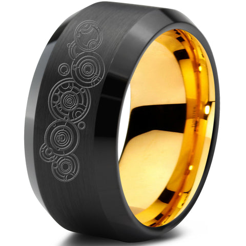 Doctor Who Gallifrey Beveled Tungsten Ring 18k Yellow Gold Interior