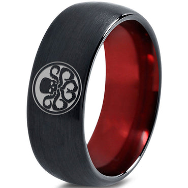 Hydra Inspired Red Chromacolor Black Dome Cut Tungsten Ring