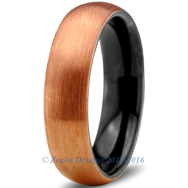 6mm 18k Rose Gold Plated Brushed Tungsten Dome Cut
