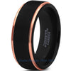 8mm Rose Gold Step Beveled Black Pipe Cut - Zealot