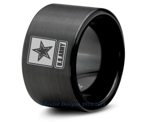 U.S. Army Military Tungsten Wedding Band Ring Mens Womens Brushed Pipe Cut Black Anniversary Engagement ALL Custom Sizes Available