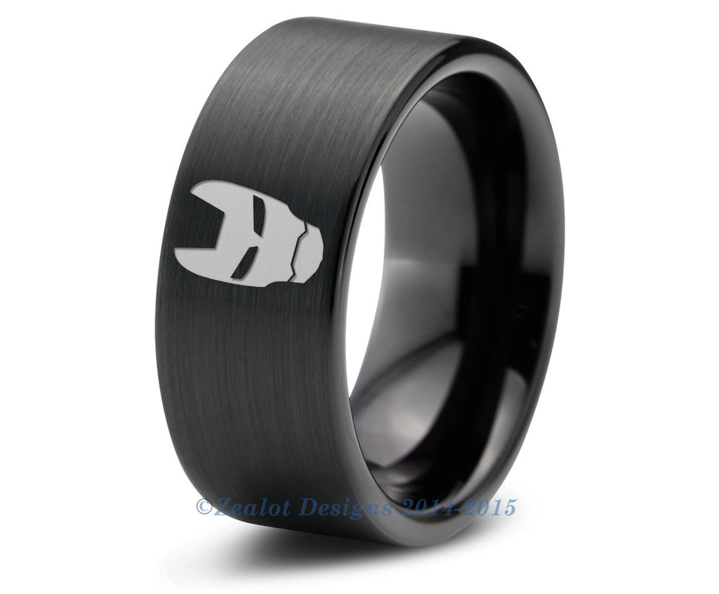 Iron Man Stark Tungsten Wedding Band Ring Mens Womens Pipe Cut ...