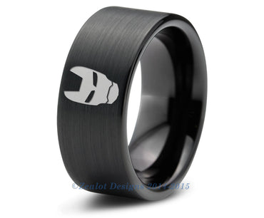 Iron Man Stark Tungsten Wedding Band Ring Mens Womens Pipe Cut Brushed Black Fanatic Geek Anniversary Engagement ALL Custom Sizes Available