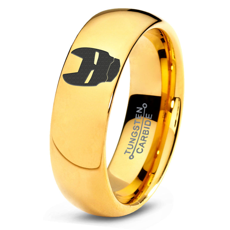 Iron Man Inspired 18k Yellow Gold Dome Tungsten Ring