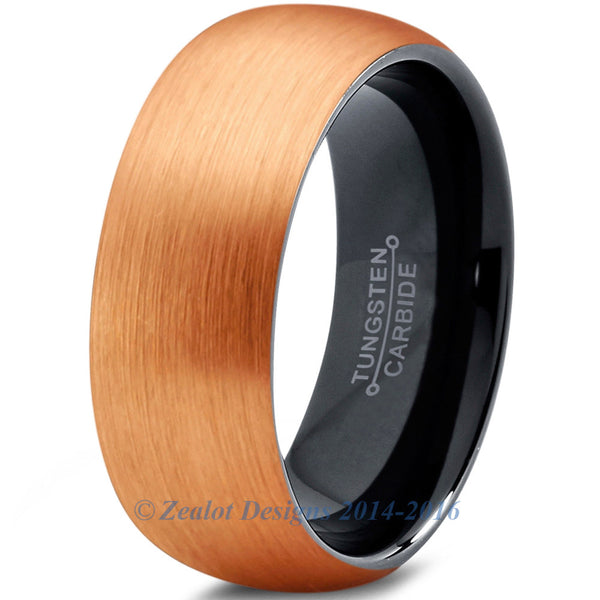 8mm 18k Rose Gold Plated Brushed Tungsten Dome Cut