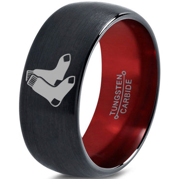 Boston Red Sox Inspired Dome Cut Black Tungsten Ring with Red Interior