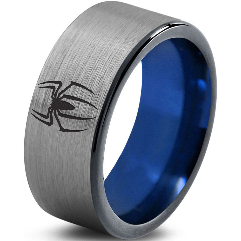 Spiderman Inspired Silver Blue Tungsten Ring