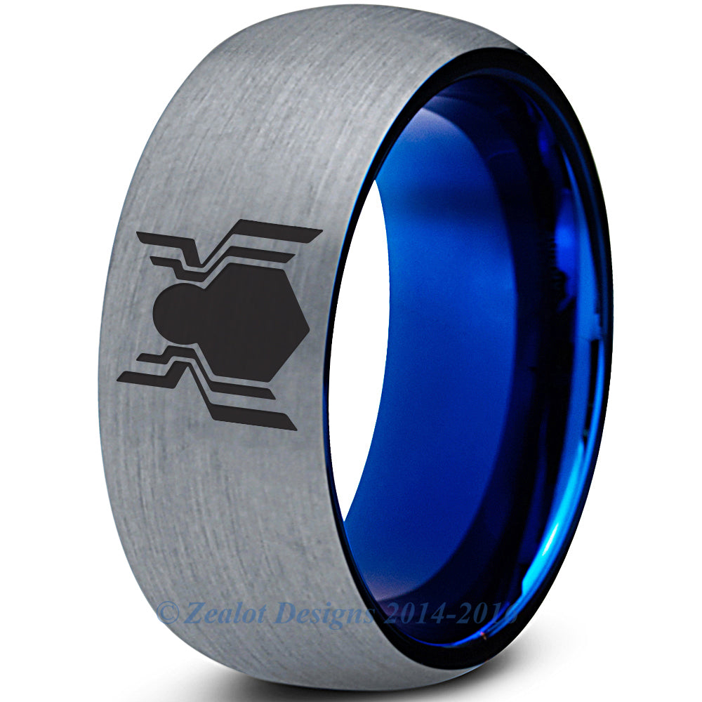 Spiderman Homecoming Inspired Silver Blue Tungsten Ring