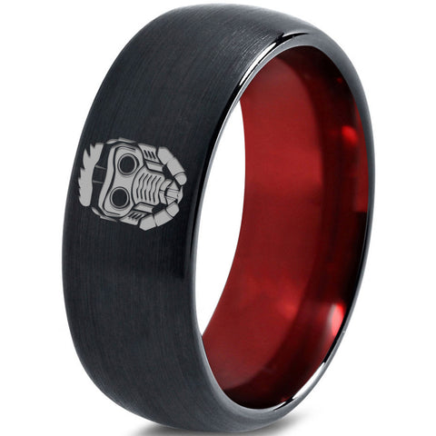 Starlord Inspired Red Chromacolor Black Dome Cut Tungsten Ring