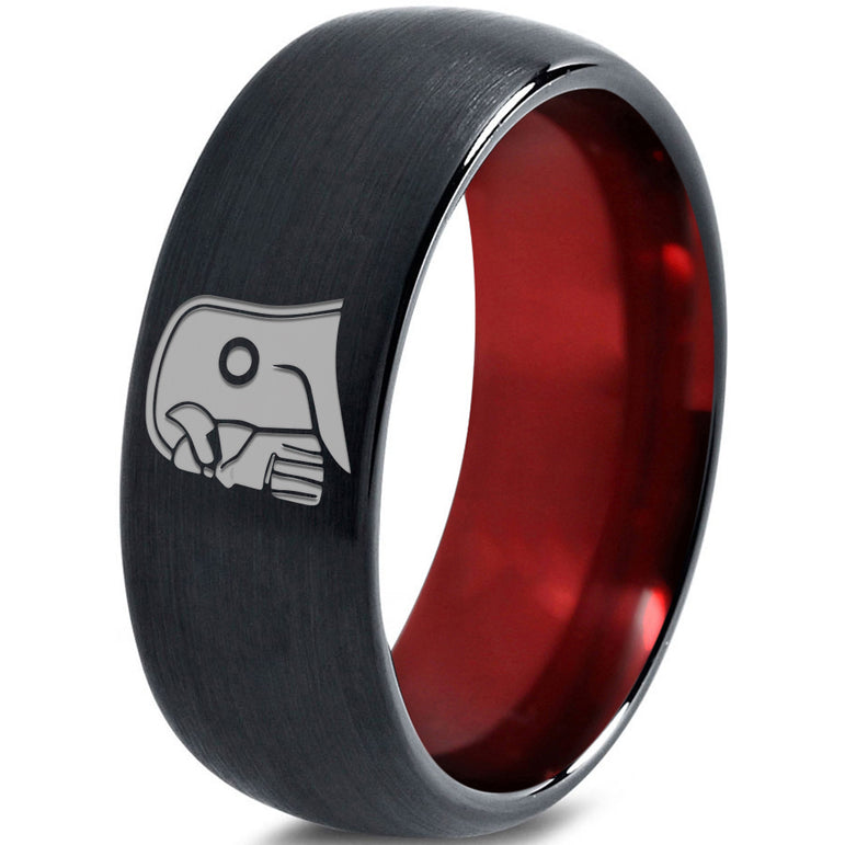 Thanos Inspired Red Chromacolor Black Dome Cut Tungsten Ring
