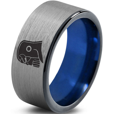 Thanos Inspired Silver Blue Tungsten Ring