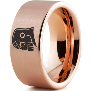 Thanos Inspired 18k Rose Gold Pipe Cut Tungsten Ring