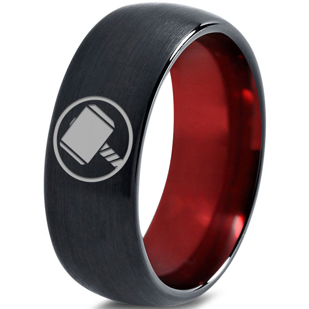 Thor Inspired Red Chromacolor Black Dome Cut Tungsten Ring