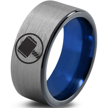 Thor Inspired Silver Blue Tungsten Ring