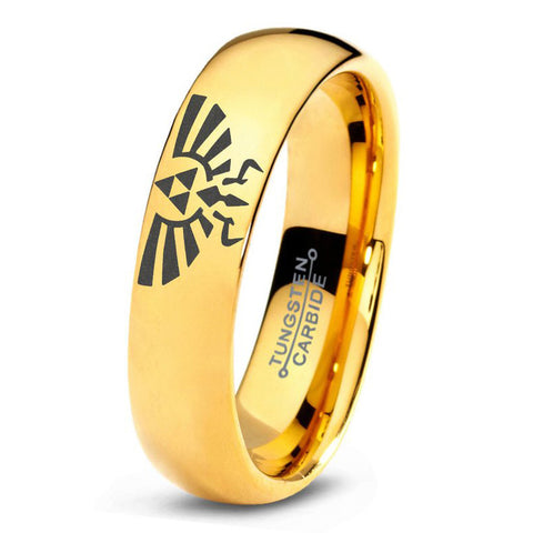 Zelda Hylian Triforce Polished 18k Yellow Gold Dome Tungsten Ring