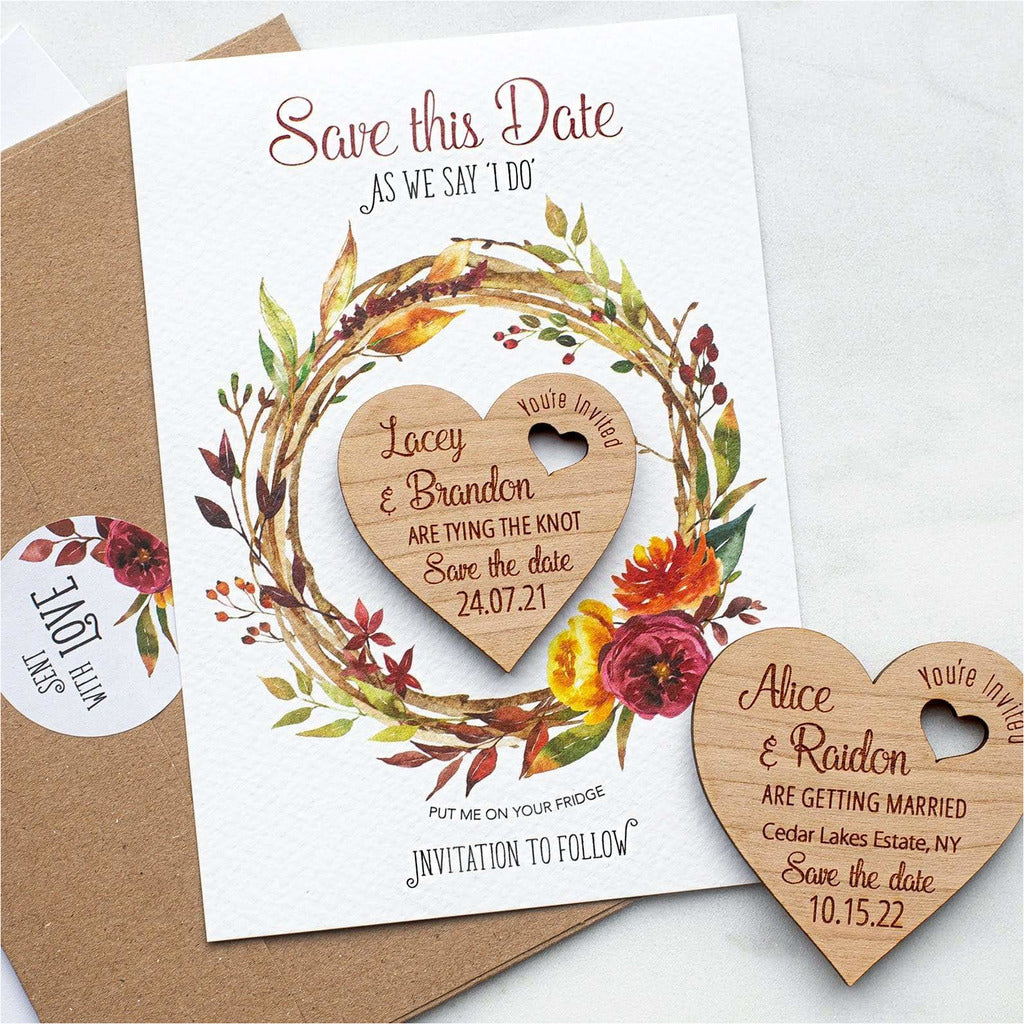 Autumn Fall Save The Date Magnets Wooden Heart Magnets with Cards NIVI Design