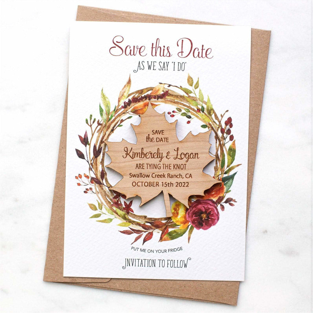 Autumn Fall Save The Date Magnets Wooden Maple Leaf Magnets with Cards NIVI Design
