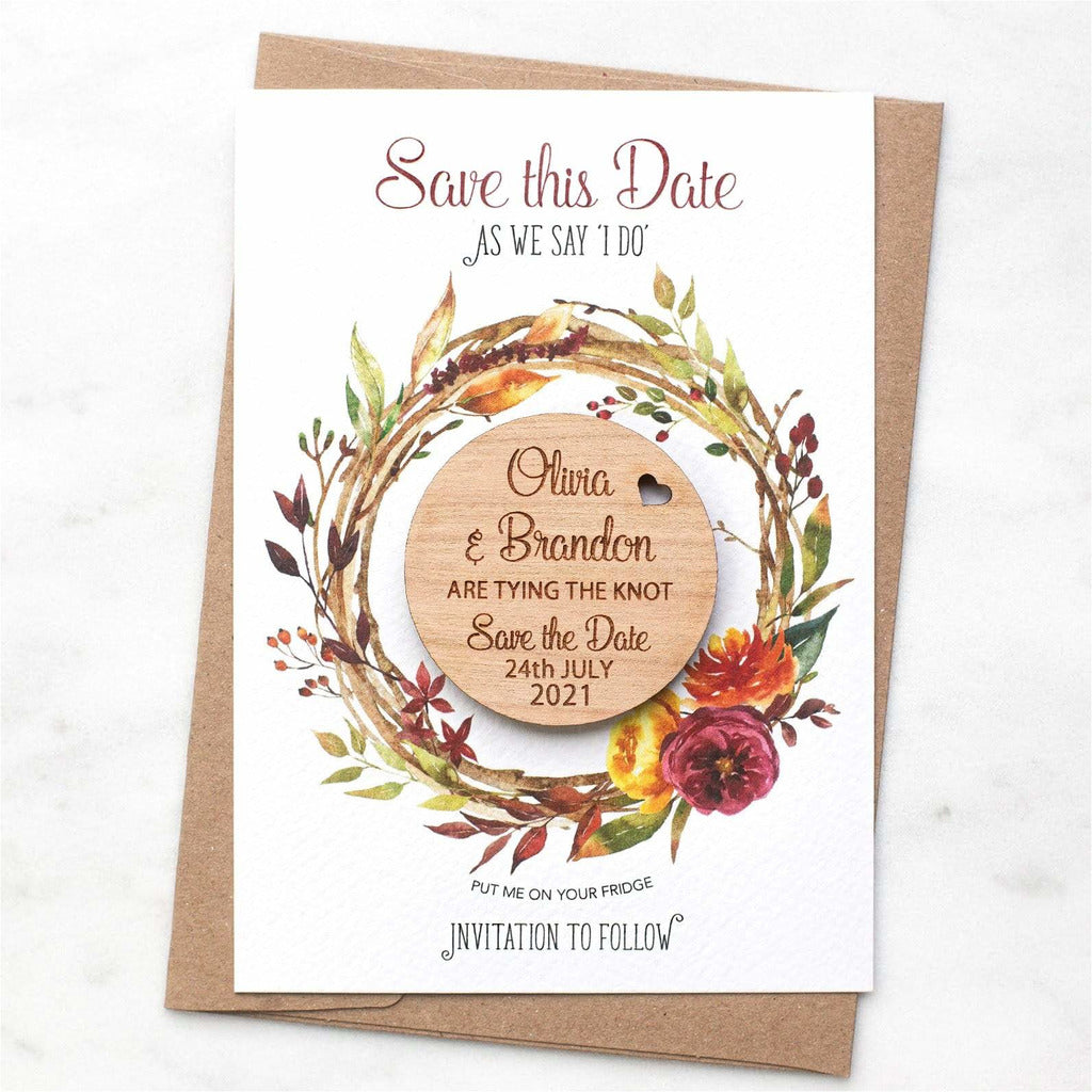 Autumn Fall Save The Date Magnets Wooden Round Magnets with Cards NIVI Design