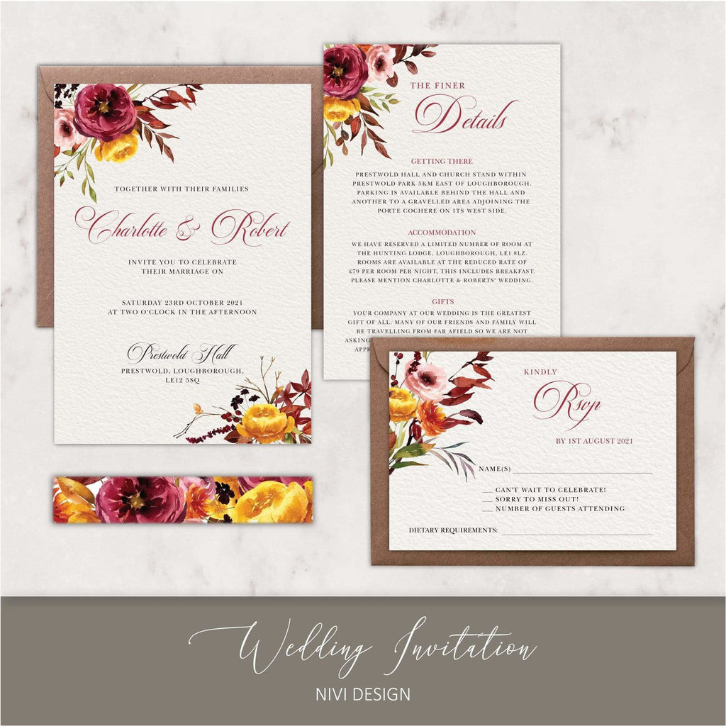 Autumn Fall Wedding Invitation NIVI Design