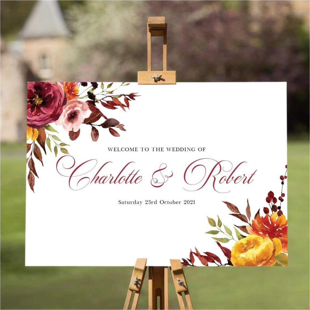 Autumn Fall Wedding Welcome Sign NIVI Design